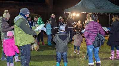 Carol singing with the band